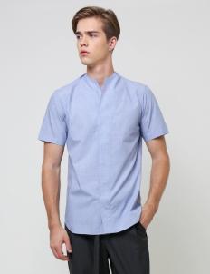 Light Blue Collarless Shortsleeved Shirt