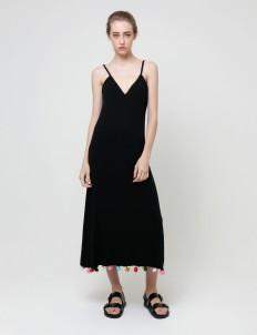 Black Bella Pom Pom Dress