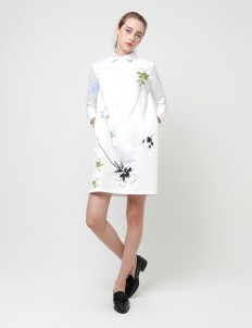 White New Floral-Print Leigh Shirt Dress