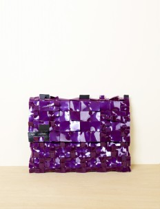Deep Violet Alligator Clutch Medium