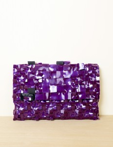 Deep Violet Alligator Clutch Large