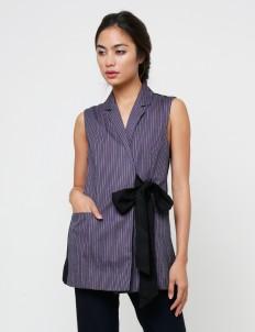Blue Striped Blouse Vest