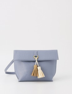 Läder Clutch  in Cloud Blue
