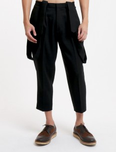 Black Pleats Trousers with Detachable Suspender