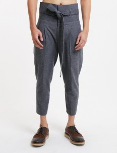 Gray Foldable High Waist Trousers