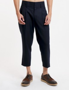 Navy Cropped Trousers