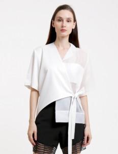 White Semi Kimono Organza Shirt