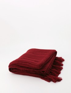 Maroon Knitted Pattern Blanket