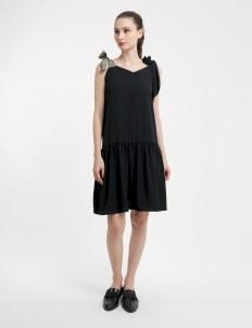 Olive & Black Sleeveless Strap Dress
