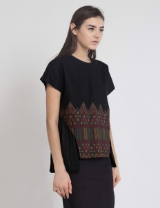 Black Penne Pleated Top