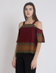 Maroon Zeuss Shoulder Top