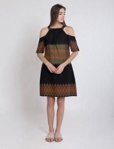 Black Zoey Shoulder Dress