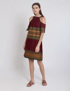 Maroon Zoey Shoulder Dress