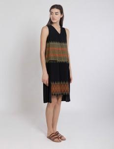 Black Halley Pleated Dress