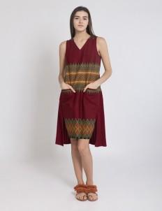 Maroon Halley Pleated Dress
