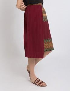 Maroon Keera Pleated Skirt