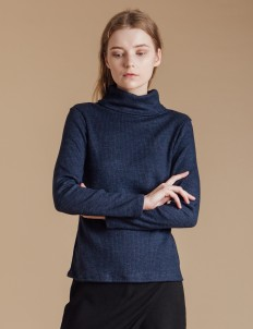 Navy Knit Turtleneck Sweater