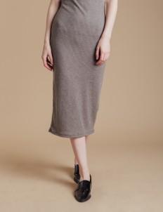 Gray Midi Knit Skirt