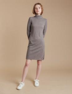 Gray Turtleneck Sweater Dress