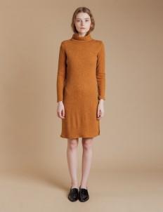Mustard Turtleneck Sweater Dress