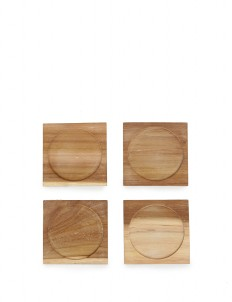 Round In Square Wooden Coasters