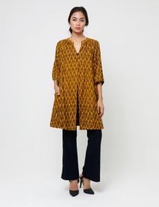 Brown & Yellow Ikat Coat
