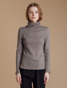 Gray Knit Turtleneck Sweater
