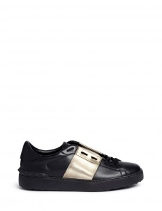 Metallic colourblock leather stud sneakers