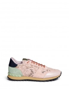 Colourblock macramé lace sneakers