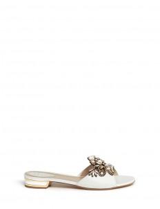 Strass pearl appliqué leather slide sandals