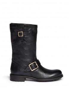 'Biker' rabbit fur leather boots