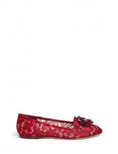 'Vally' jewel brooch Taormina lace flats