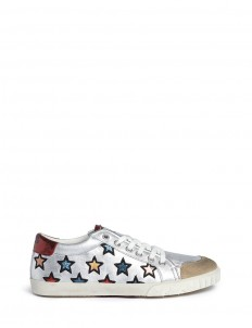 'Majestic' star appliqué metallic leather sneakers