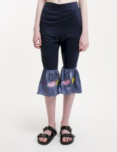 Navy Chill Bean Flared Pants