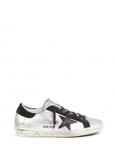 'Superstar' star patch metallic leather sneakers