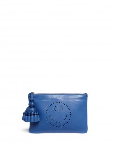 'Smiley Georgiana' perforated leather tassel clutch