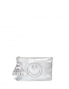 'Smiley Georgiana' perforated metallic leather clutch