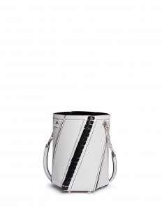 'Hex' mini bonded whipstitch leather bucket bag