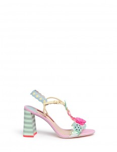 'Lilico' sequin floral T-bar leather sandals