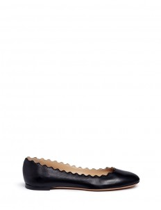'Lauren' scalloped leather ballerina flats