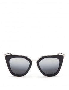 Metal bridge cat eye acetate sunglasses