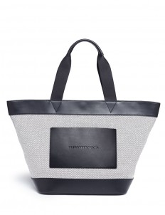 Leather trim canvas tote