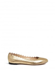 'Lauren' scalloped metallic leather ballerina flats
