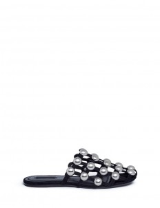 'Amelia' ball stud caged suede slide sandals