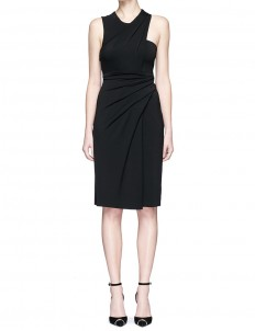 Asymmetric drape crepe sleeveless dress