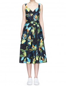 Parrot print corset top belted dress
