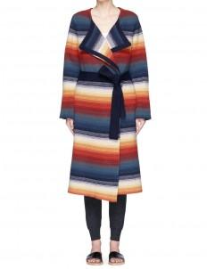 Belted stripe cashmere blend coat