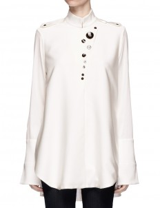 'Visual Wonder' shell button stand collar blouse