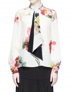 Tie neck watercolour floral print silk top