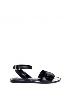 Bow band ankle strap leather sandals